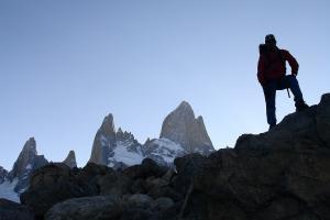 El Chalten - Bergsteiger vor dem Fitz Roy