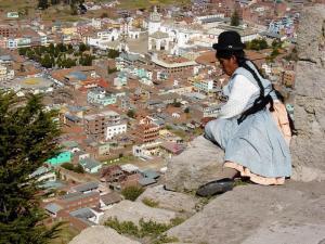Blick über Copacabana in Bolivien